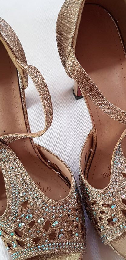 Gold Sandals with Rhinestones. – Veal